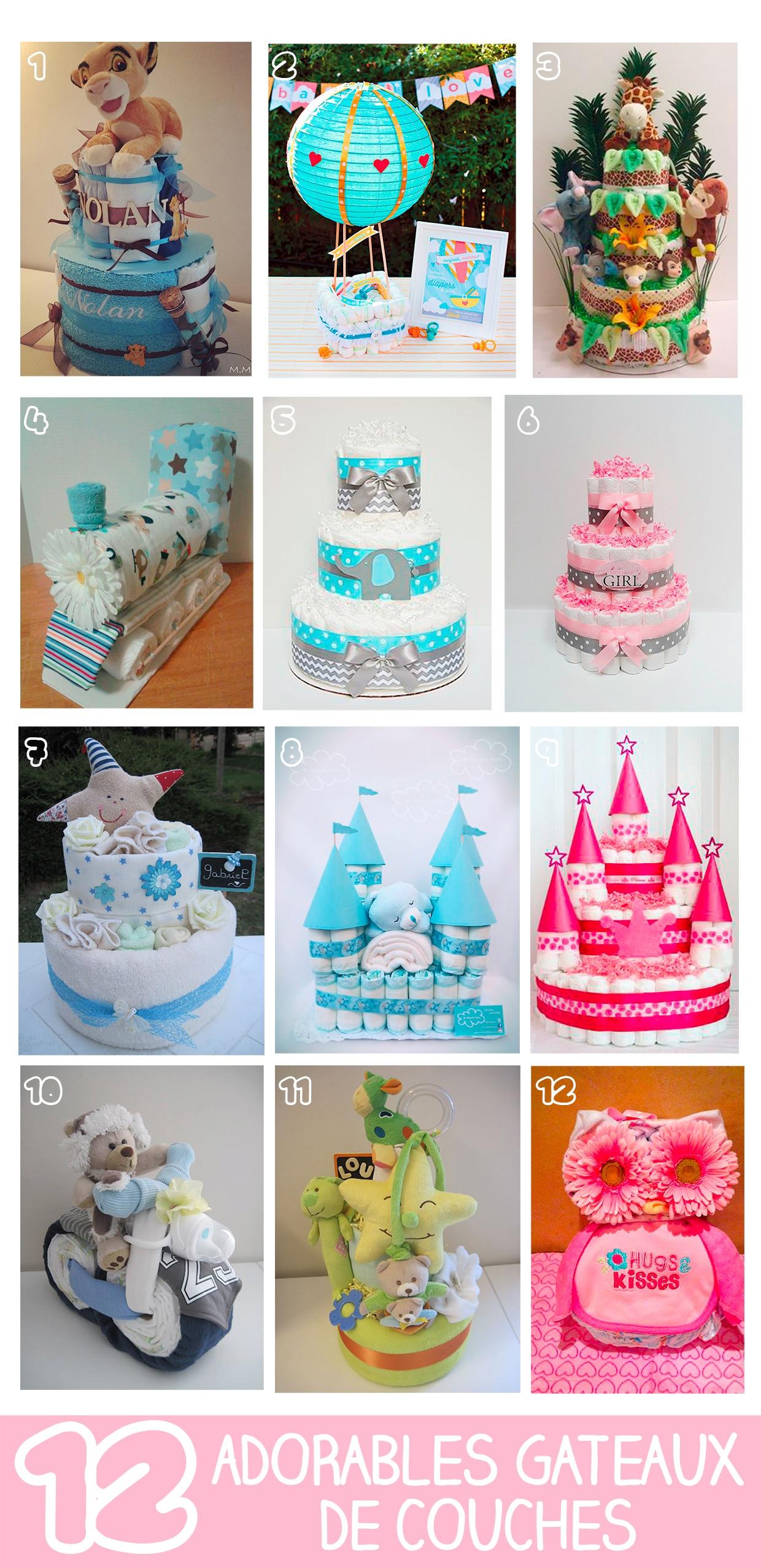 12 adorables gâteaux de couches