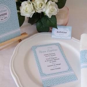 Décoration baptême personnalisée - thème polka mint pour une table de fête