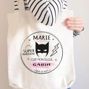 "sac tote bag personnalisé ""super marraine"""