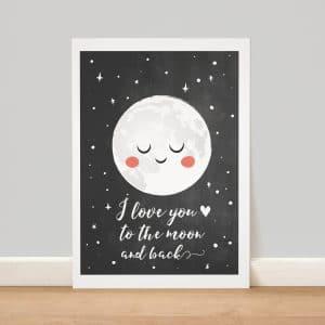 affiche lune création le monde de bibou
