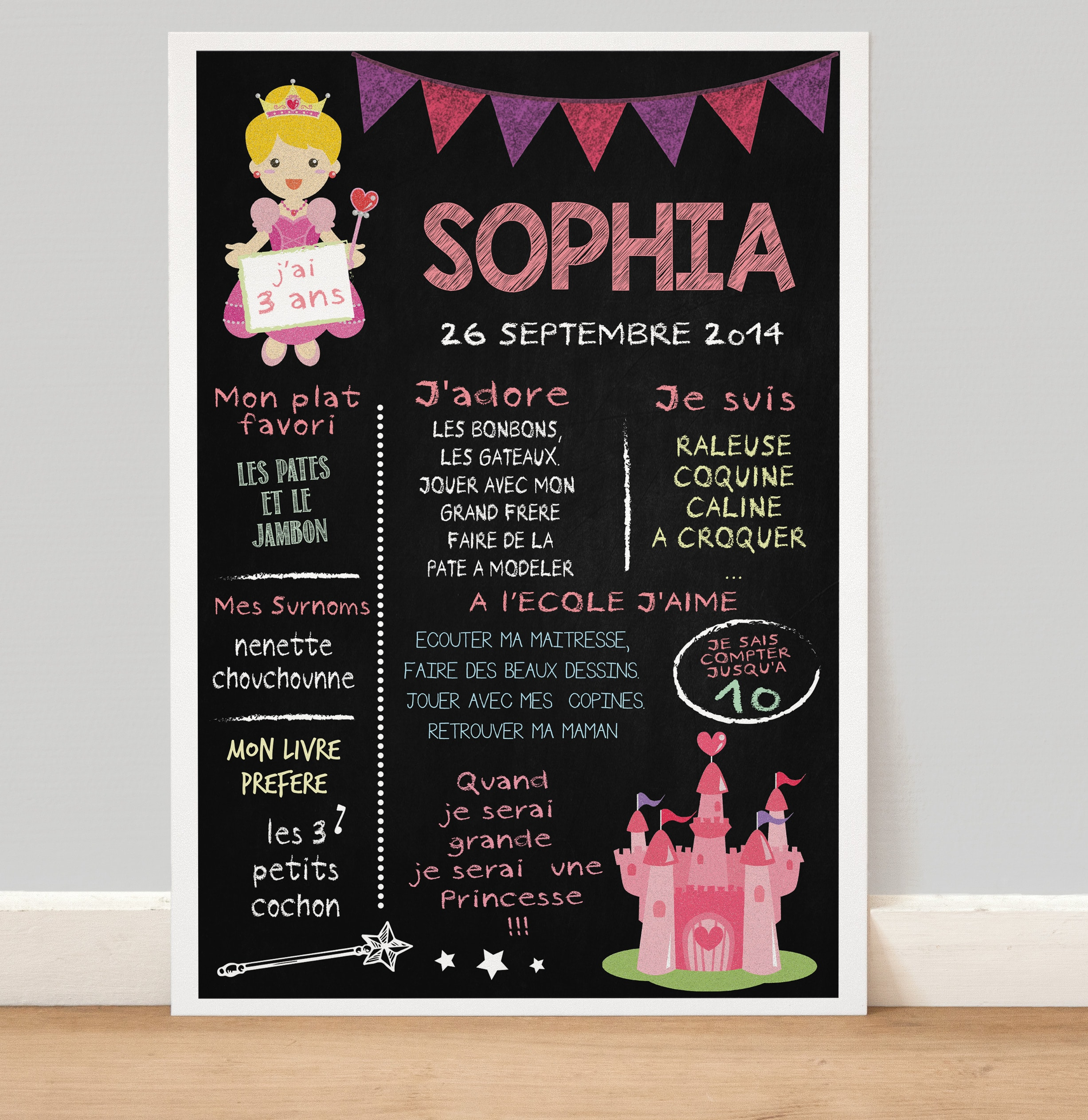 affiche tableau la craie anniversaire 3 6 ans th me princesse. Black Bedroom Furniture Sets. Home Design Ideas