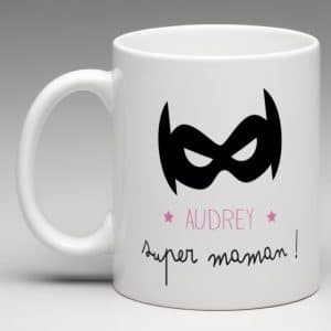 MUG PERSONNALISE SUPER MAMAN MASQUE SUPER HERO