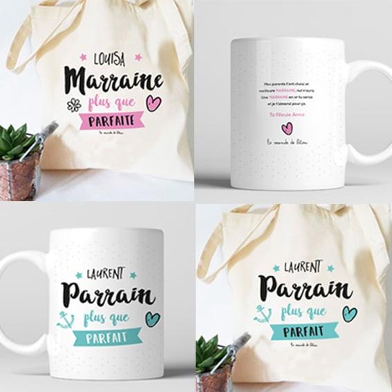 box cadeau personnalis pour parrain et marraine mugs sacs badges. Black Bedroom Furniture Sets. Home Design Ideas