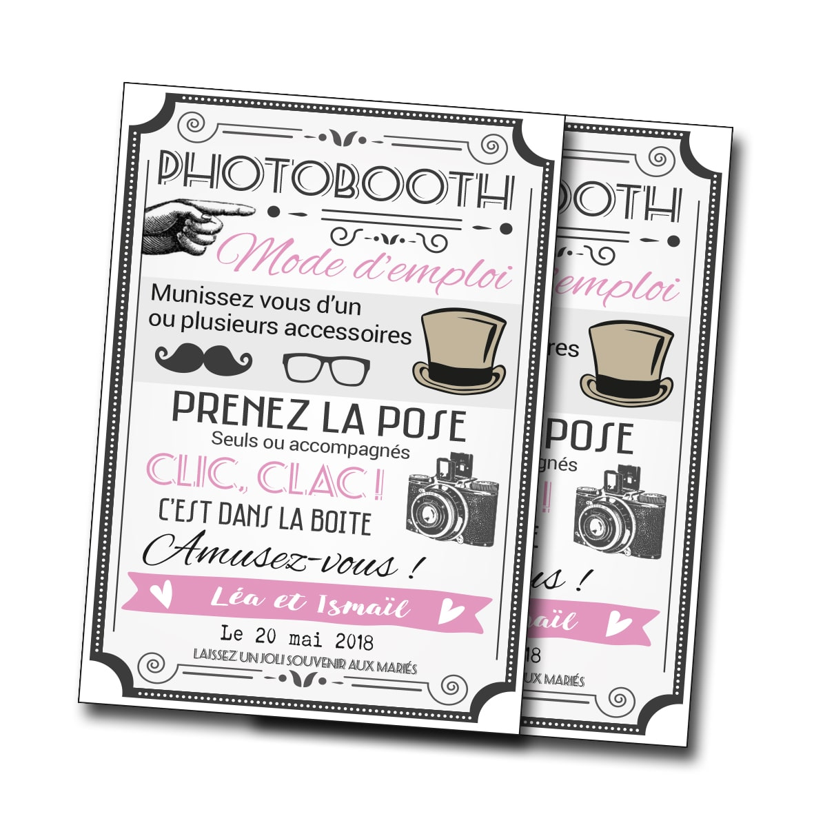 carte affichette 10x15 cm mode d 39 emploi photobooth. Black Bedroom Furniture Sets. Home Design Ideas