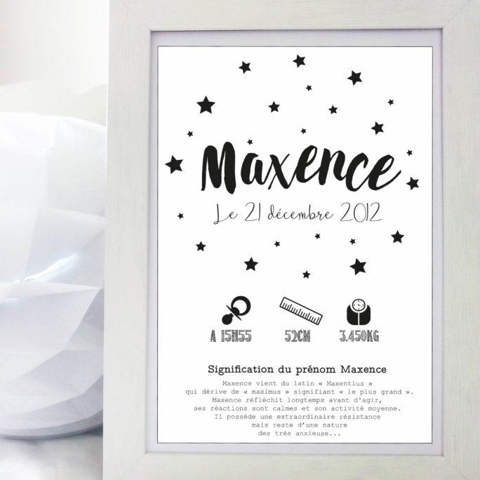 Affiche Naissance Etoiles NetB