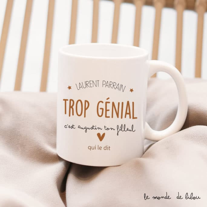 """Mug cadeau personnalisé """"Génial parrain"""""""