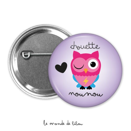 Badge chouette nounou violet