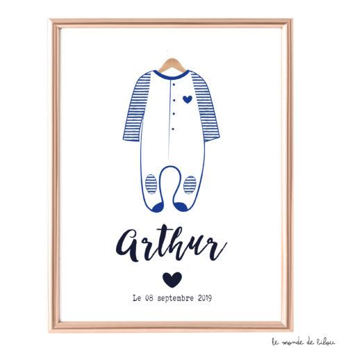 Affiche Naissance Pyjama style rétro