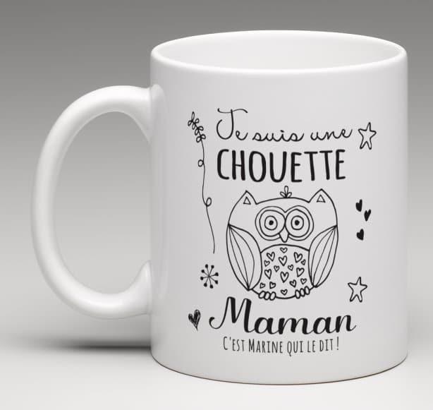 Mug Chouette Maman. Un chouette cadeau à offrir à sa maman adoré. Un cadeau qui lui plaira à coup sûr. Design très actuel