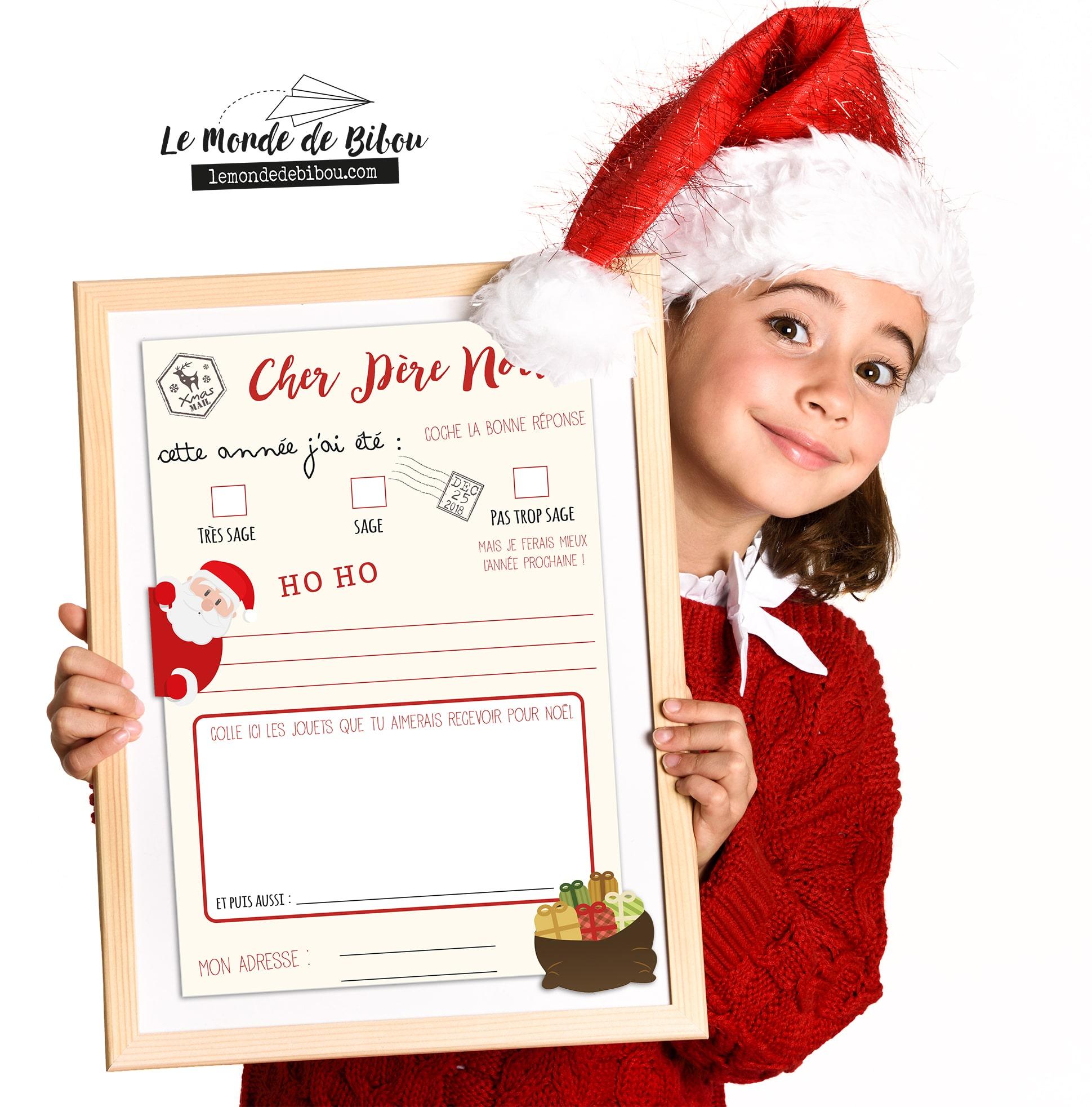 Belle Lettre au père Noël à imprimer avec son enveloppe prête à poster - BH-36