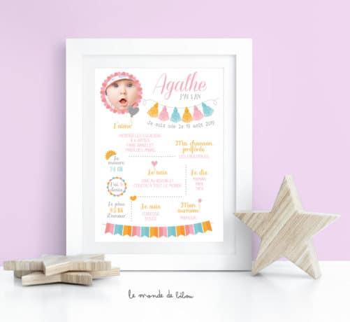 Affiche anniversaire Thème Tassel fille