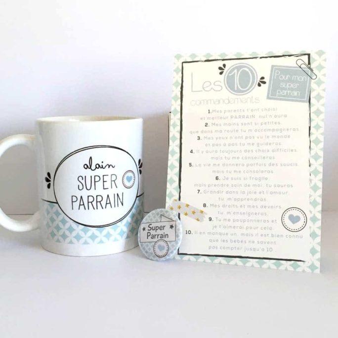 kit parrain marraine, mug, carte les 10 commandements, badge personnalisés