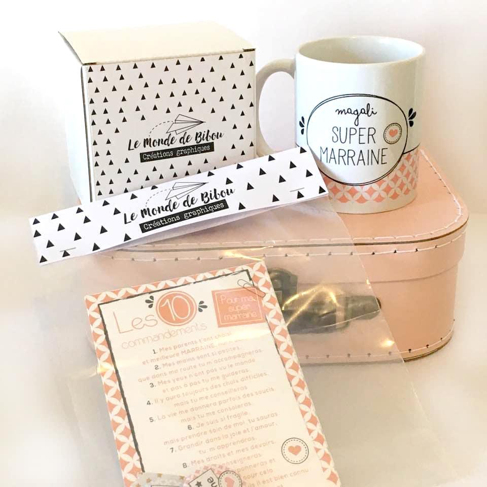kit cadeau pour une super marraine le monde de bibou. Black Bedroom Furniture Sets. Home Design Ideas
