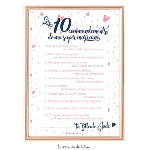 Affiche Les 10 commandements de ma super marraine