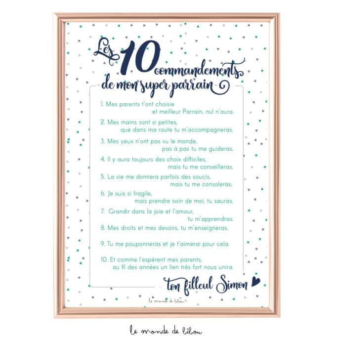 Affiche Les 10 commandements de mon super parrain