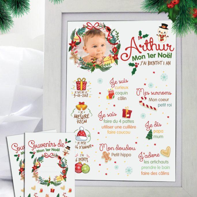 Affiche tableau mon 1er Noël et sa carte étape 1 er Noël