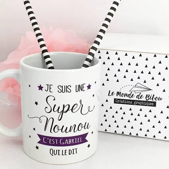 Cadeaux nounou, mug tasse personnalisé pour une super nounou