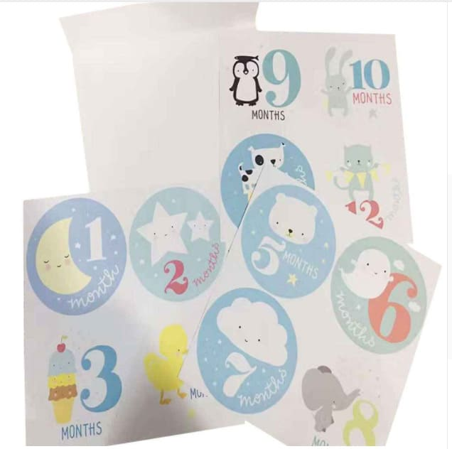 12 stickers anniversaire tapes b b 1 mois 12 mois. Black Bedroom Furniture Sets. Home Design Ideas