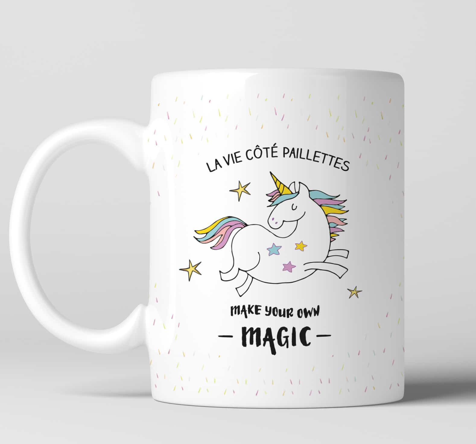 mug pour les fans de licorne la vie c t paillettes. Black Bedroom Furniture Sets. Home Design Ideas