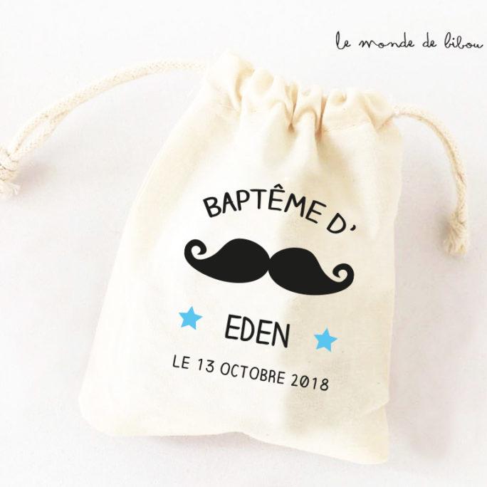 Sac ballotin dragées thème Moustache