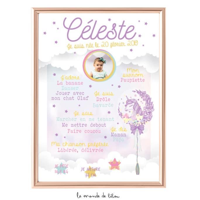 Affiche anniversaire Thème Licorne