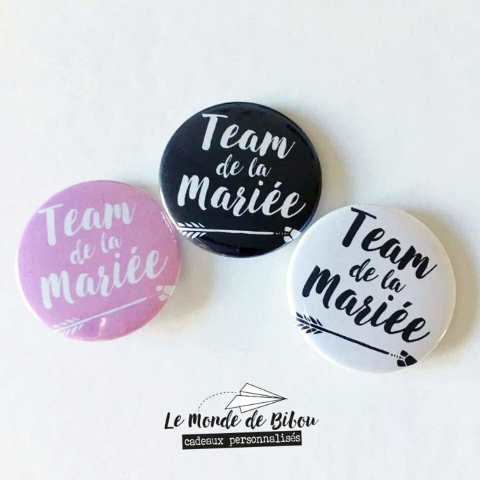 Lot 3 Badges Team de la mariée