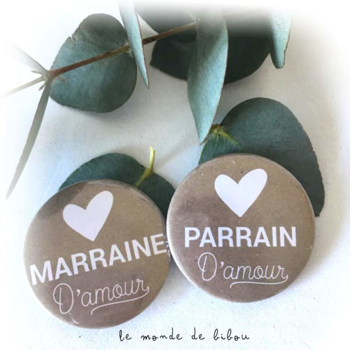 Badges parrain marraine d'amour