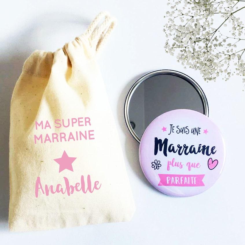 Cadeaux parrain marraine, sac personnalisé et miroir de poche super marraine