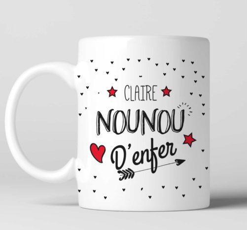 Mug Nounou d'enfer personnalisable