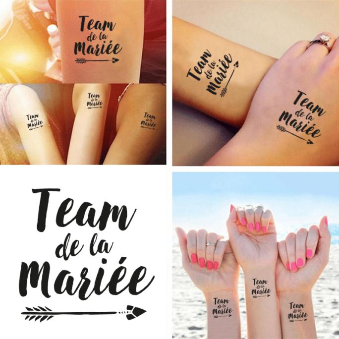 """Tatouage Éphémère """"Team de la mariée"""" pour mariage ou EVJF"""