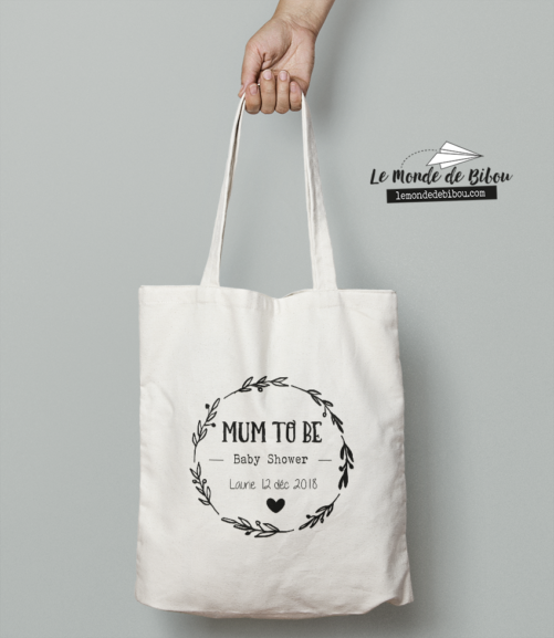 Cadeau Baby Shower pour future maman, sac tote bag Mum to be