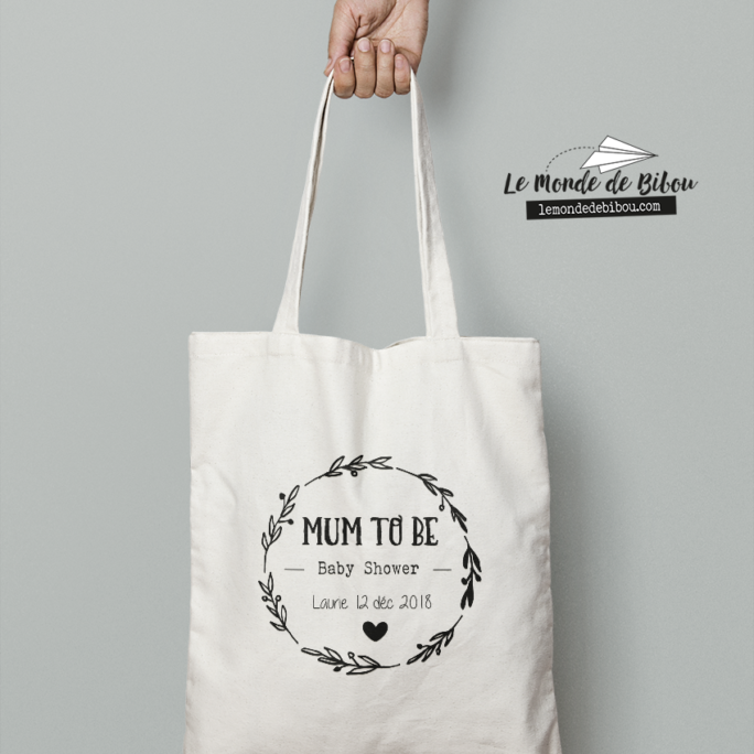 Cadeau Baby Shower pour future maman, sac tote bag Mum to be