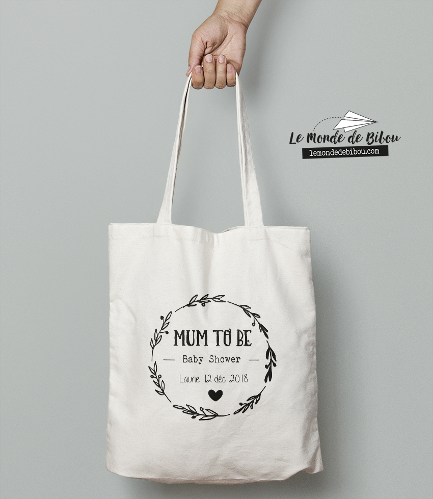 sac tote bag mum to be personnalis cadeau baby shower. Black Bedroom Furniture Sets. Home Design Ideas