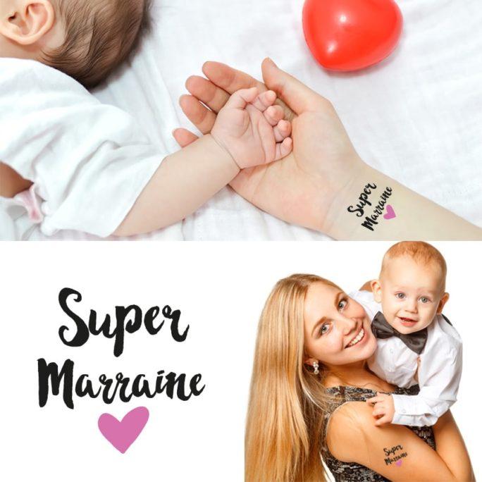 """Tatouage Éphémère """"Super Marraine"""""""