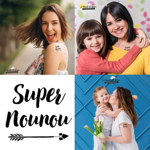 """Tatouage Éphémère """"Super Nounou"""""""