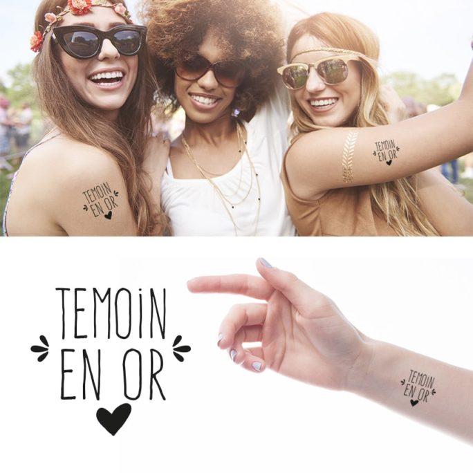 """Tatouage Éphémère """"Témoin en or"""" pour mariage ou EVJF"""