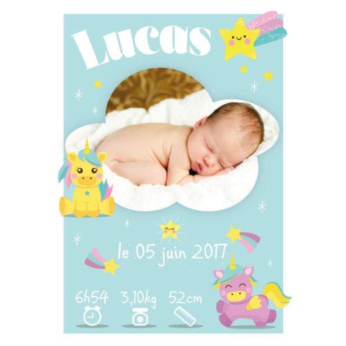 Affiche Naissance Bébés Licornes