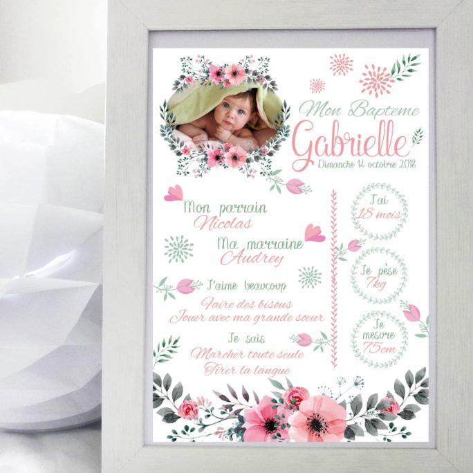 Affiche Baptême Couronne de fleurs avec photo