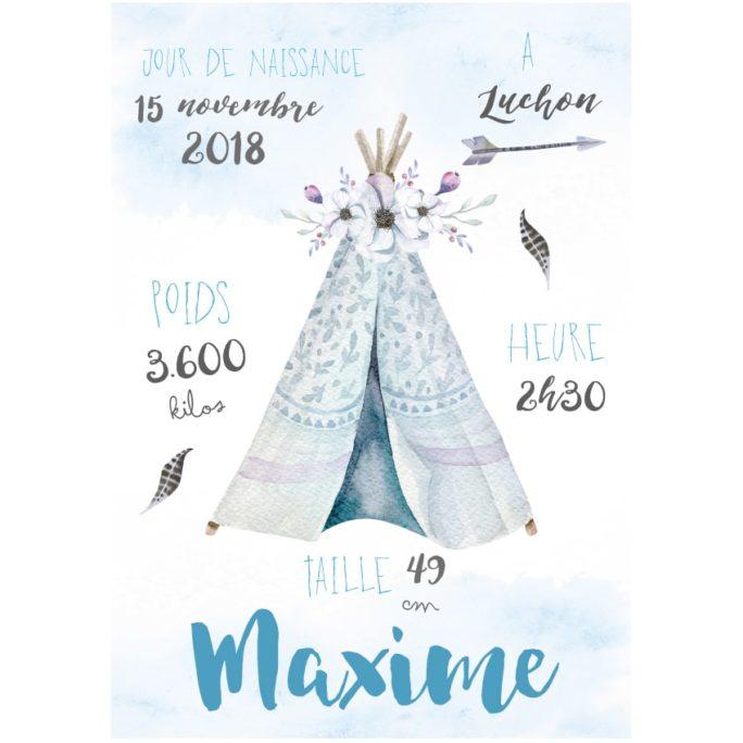 Affiche Naissance Boho Tipi Bleu