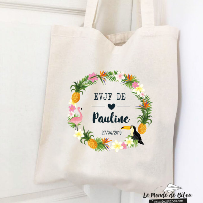 Tote bag pour EVJF Tropical