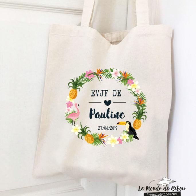 Sac tote bag personnalisée thème tropical EVJF