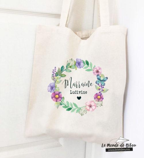 Sac tote bag personnalisé cadeau marraine couronne de fleurs
