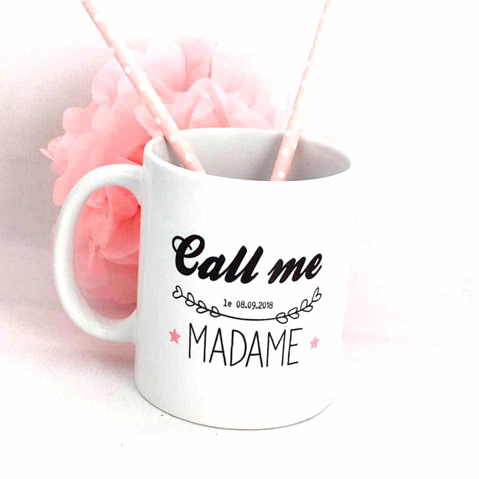 Cadeaux future mariée, mug tasse personnalisé Call me made