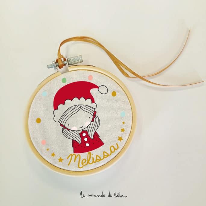 Cadre tambour Fillette Père Noël