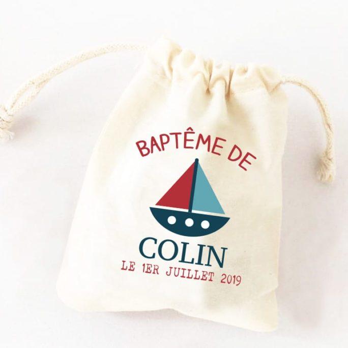 Cadeaux invités - Ballotin, contenant dragées personnalisés et original Thème Bateau