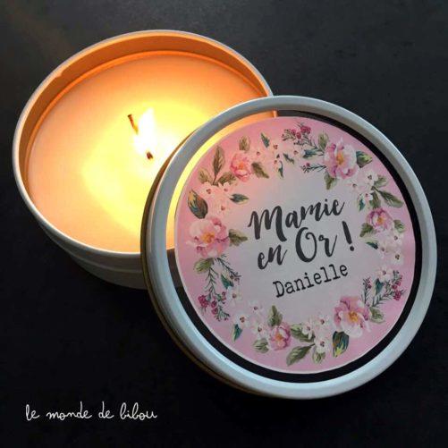 Cadeaux papy mamie, bougie personnalisée et parfumée, fait main.