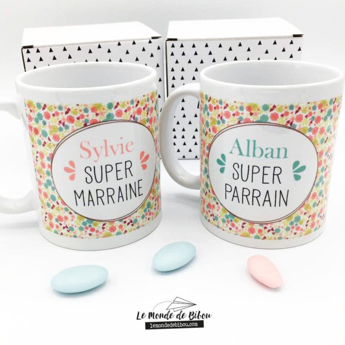 Duo Mugs Parrain Marraine Liberty