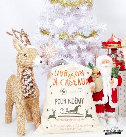 Hotte de Noël personnalisée création le Monde de Bibou