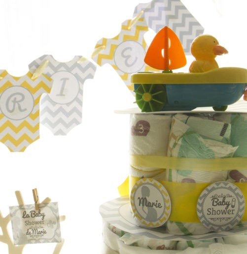 Kit Baby Shower jaune et gris