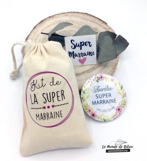 Cadeaux parrain marraine - kit personnalisé pour une super marraine